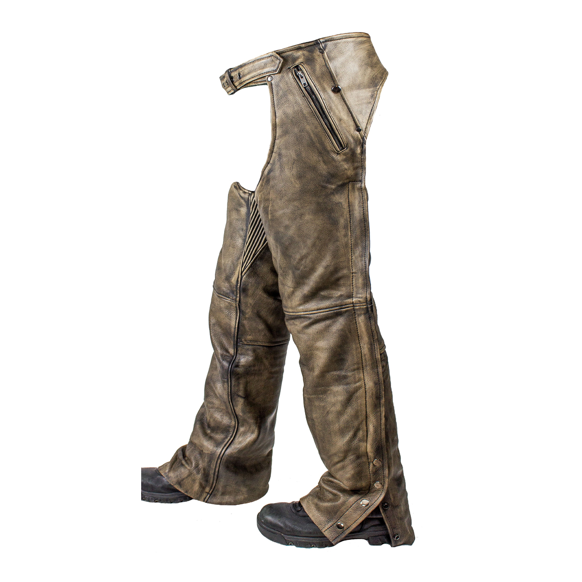 4 Pocket Removable Thermal Liner Mens Distressed Brown Leather Chaps