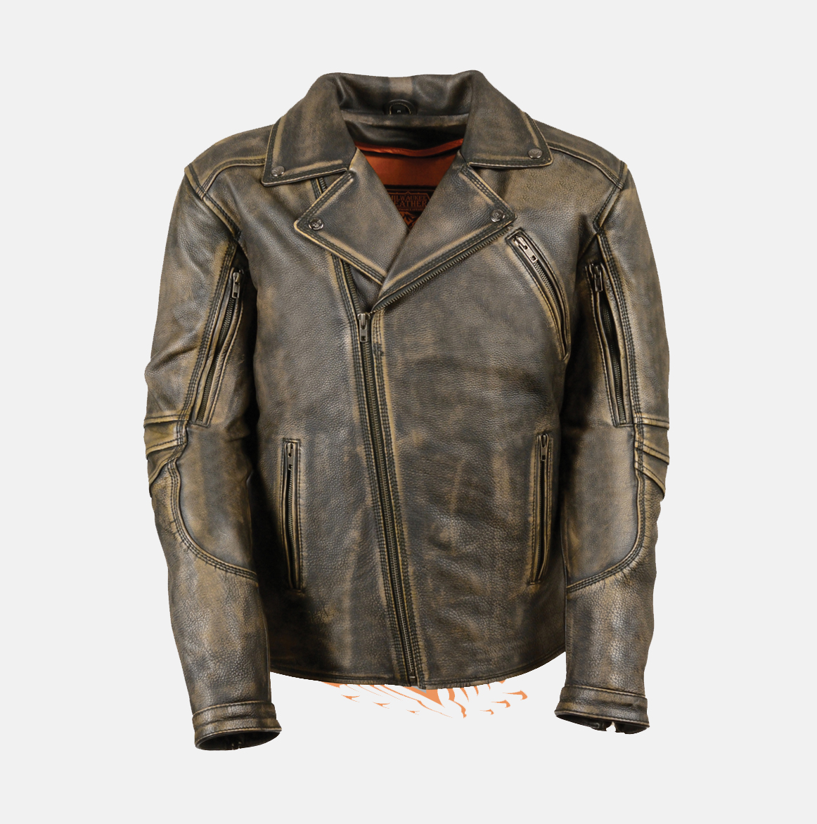 cf0e7bcd229 MEN S BROWN DISTRESSED LEATHER POLICE JACKET - Extreme Biker Wear