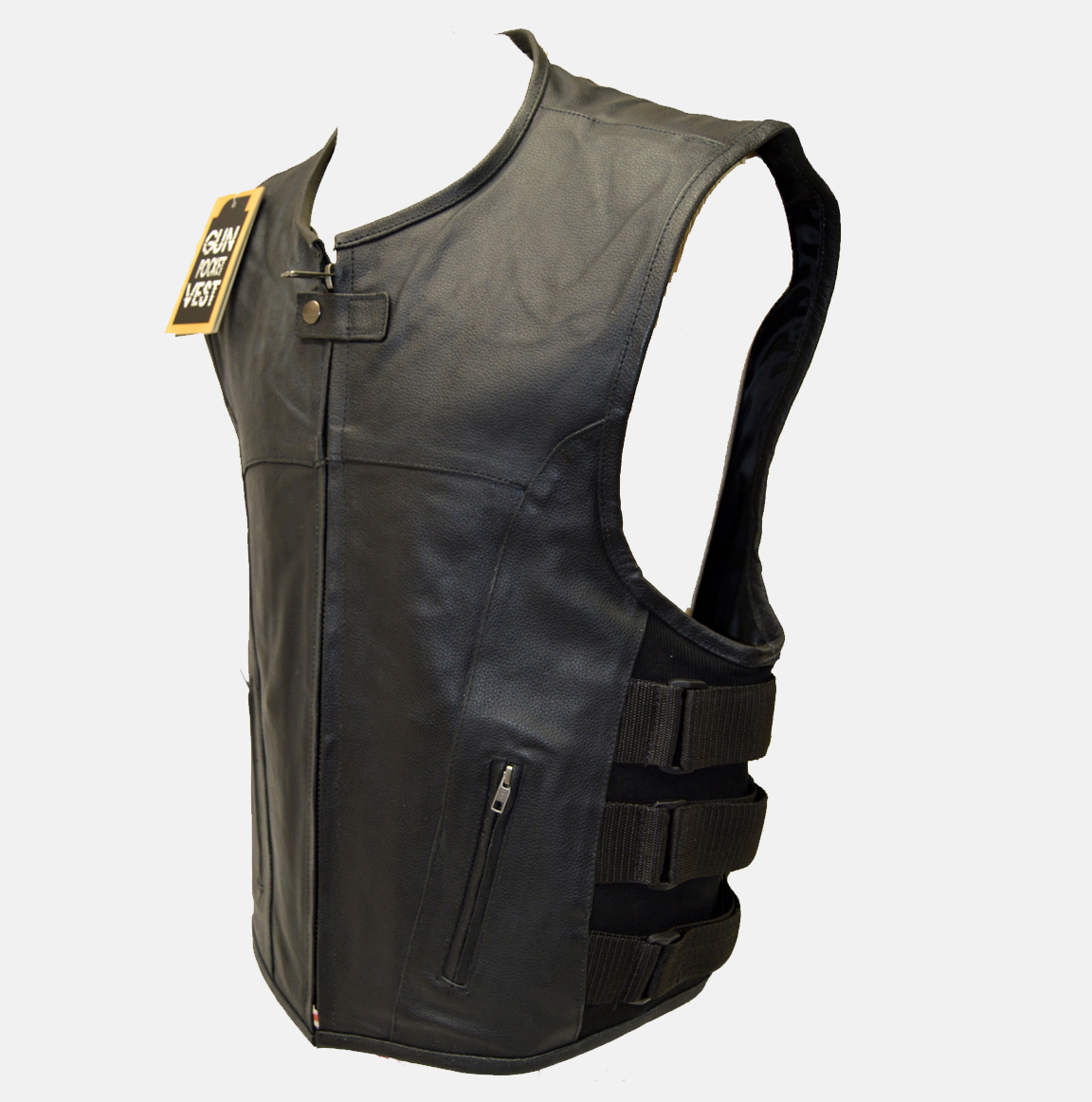 Updated Tactical Swat Style Leather Vest Extreme Biker Wear
