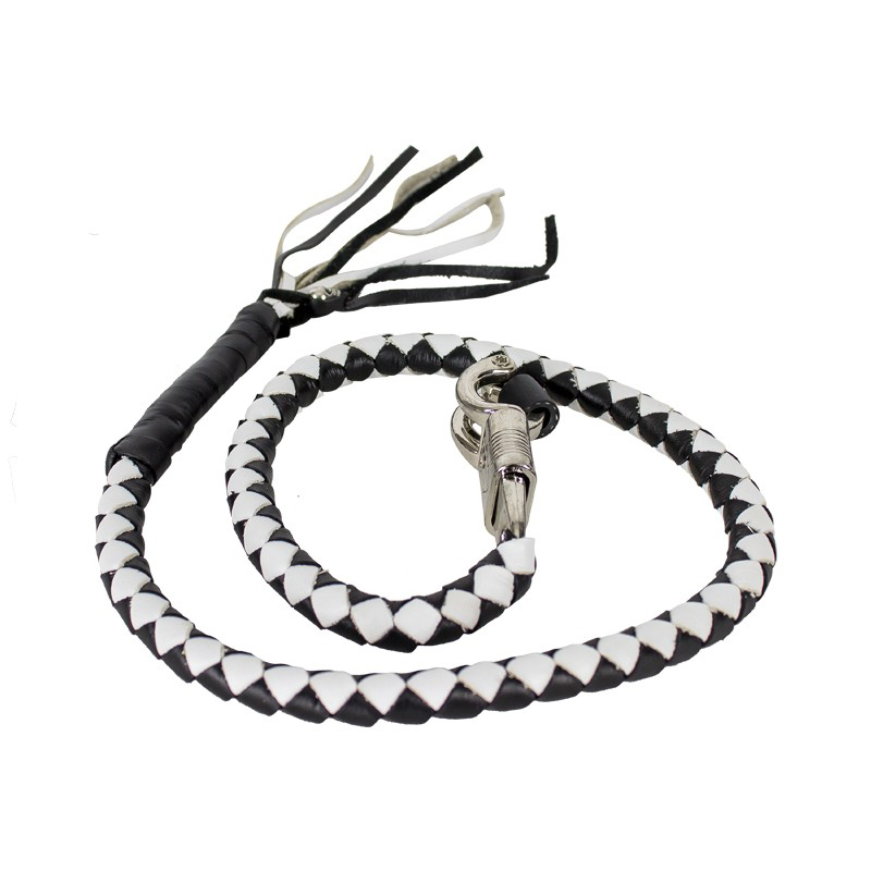 Biker Whip get back 36 BLACK and white with silver punisher skulls .45 cal casing