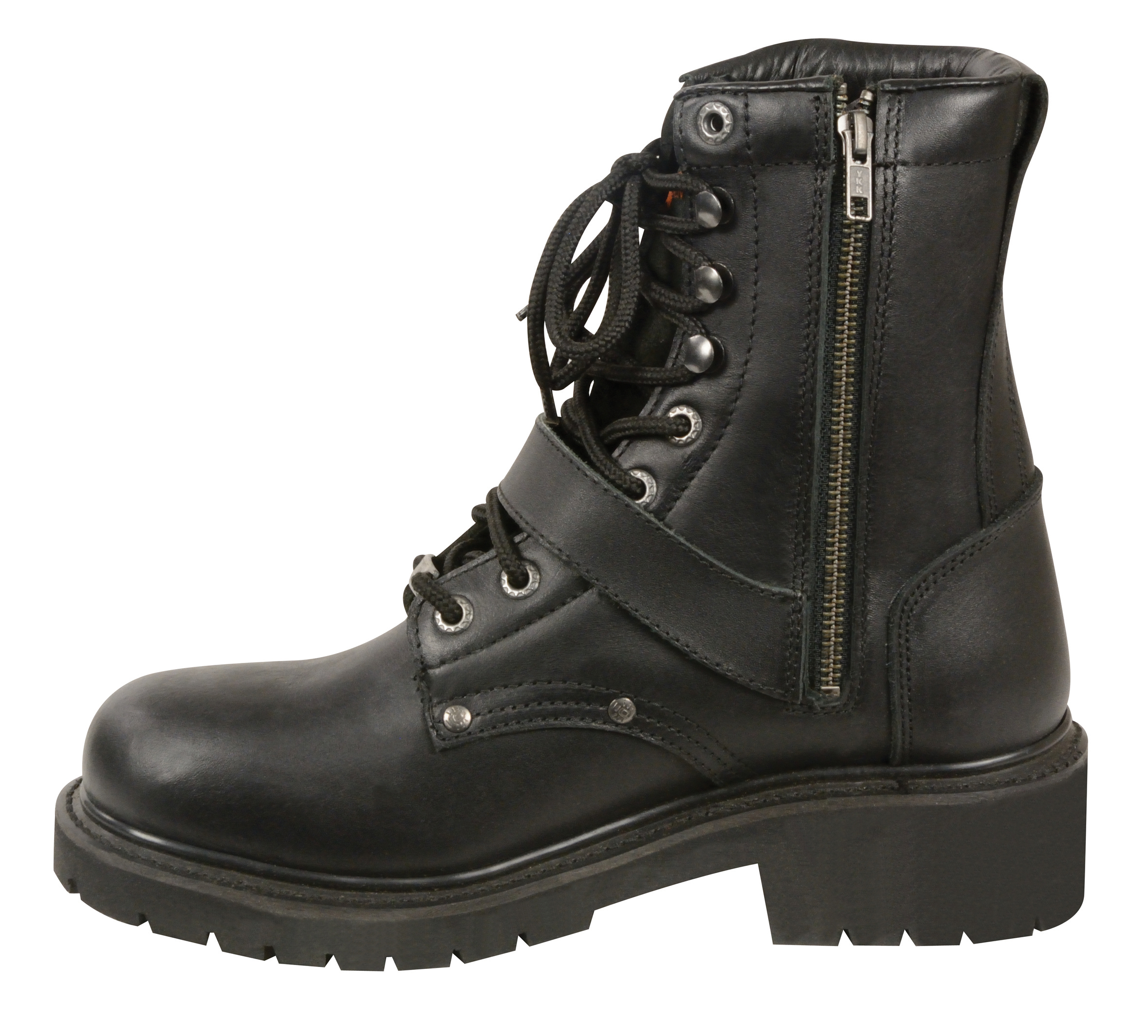 Men S Motorbike Real Leather Buckled Amp Lace To Toe Boot