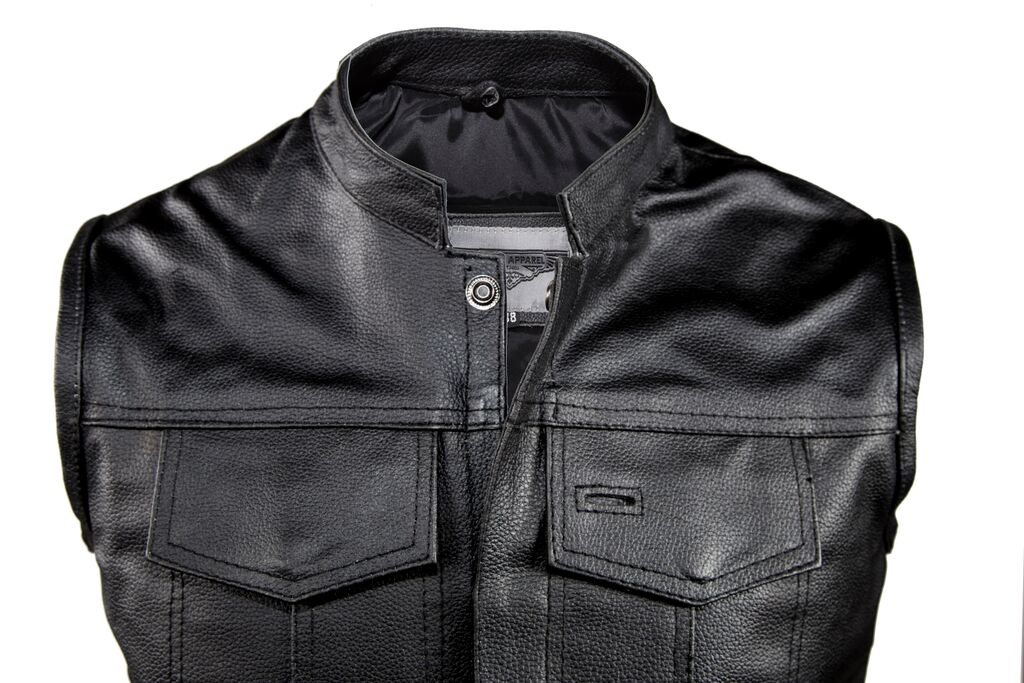 men 39 s motorcycle riding son of anarchy style leather vest. Black Bedroom Furniture Sets. Home Design Ideas