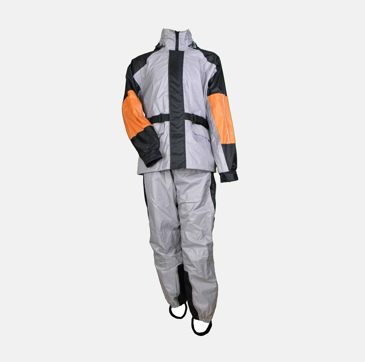 MEN'S MOTORCYCLE RAIN SUIT REFLECTIVE PIPING BLK/ GREY ...