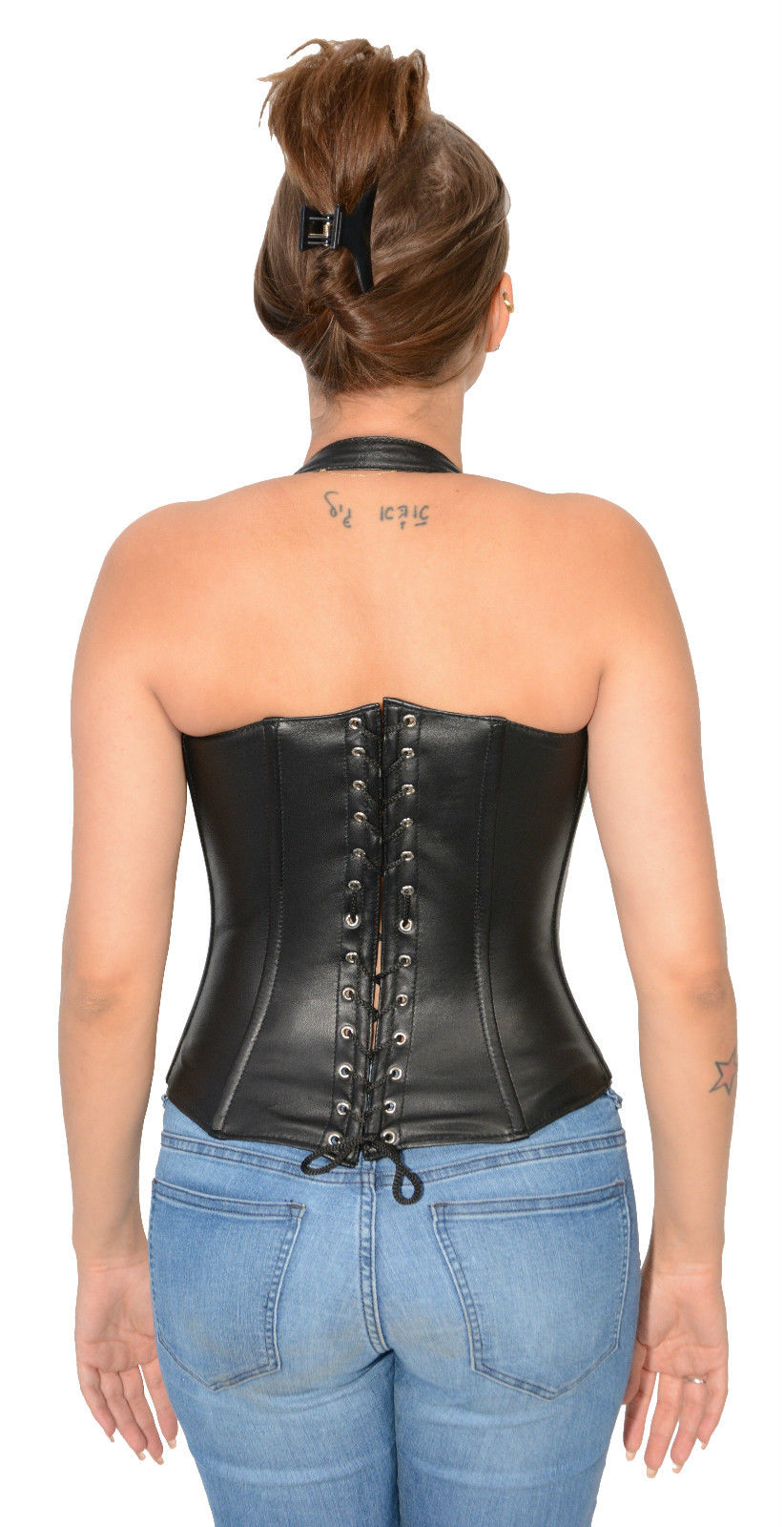 302c3ab3628 WOMEN S REAL LAMB LEATHER REINFORCED STEEL BONED SEXY CORSET BACK ...