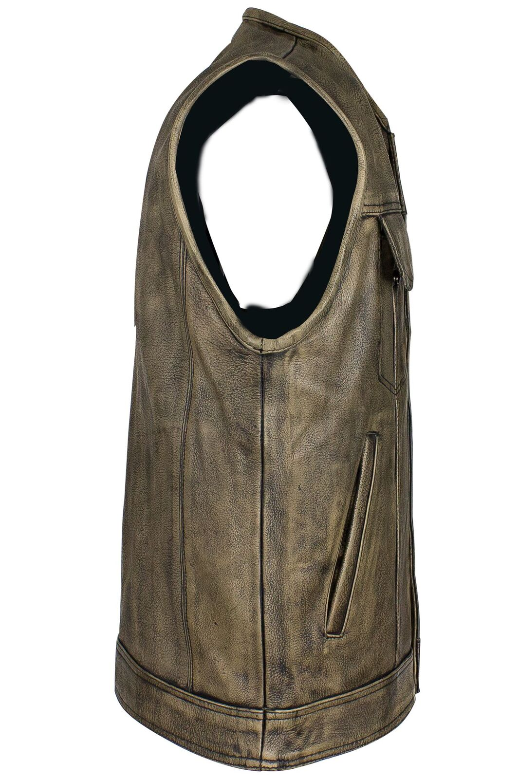 Men S Distressed Brown Leather Motorcycle Club Vest