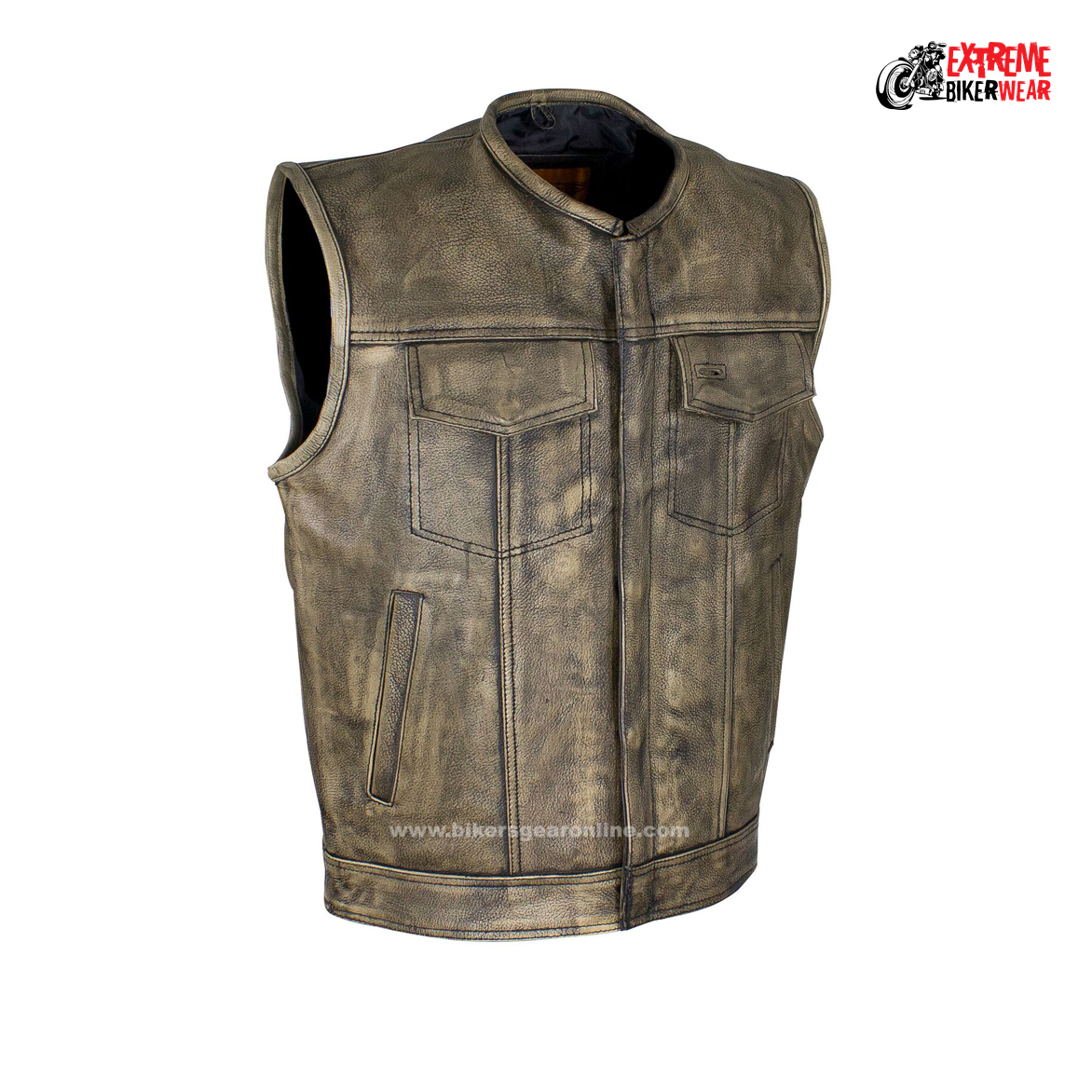 Men's distressed Brown Leather Motorcycle Club Vest - Extreme ...