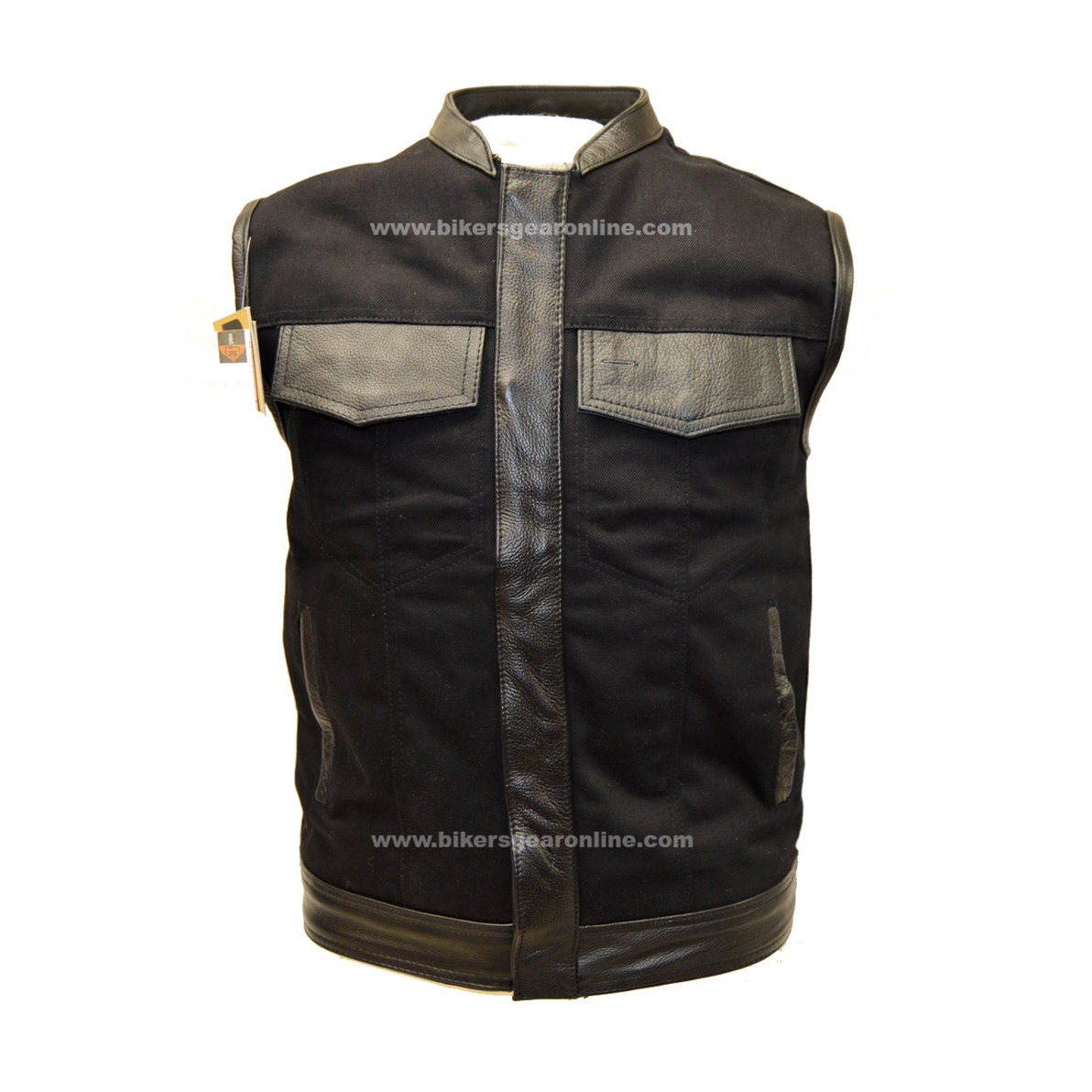 Lovely MEN'S CLUB BLACK DENIM VEST W/LEATHER TRIMMING & ZIPPER - Extreme  QT04