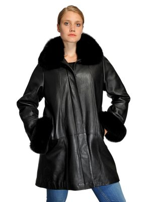 MASON & COOPER KIM LAMB/FOX COLLAR SWING COAT