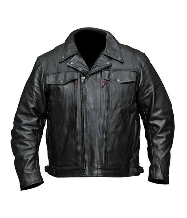 MENS MOTORCYCLE POLICE STYLE BUTTER SOFT LEATHER JACKET DOUBLE PISTOL PETE NEW XL Regular