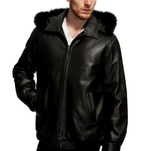 Mason & Cooper Lanza Leather Fox Trim Jacket