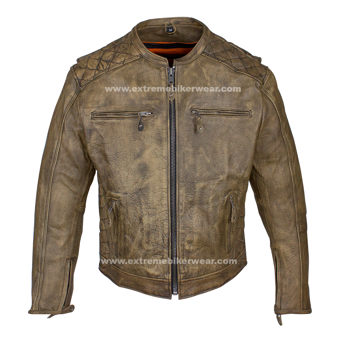 Mens Distressed Brown Leather Motorcycle Jacket With Diamond ...