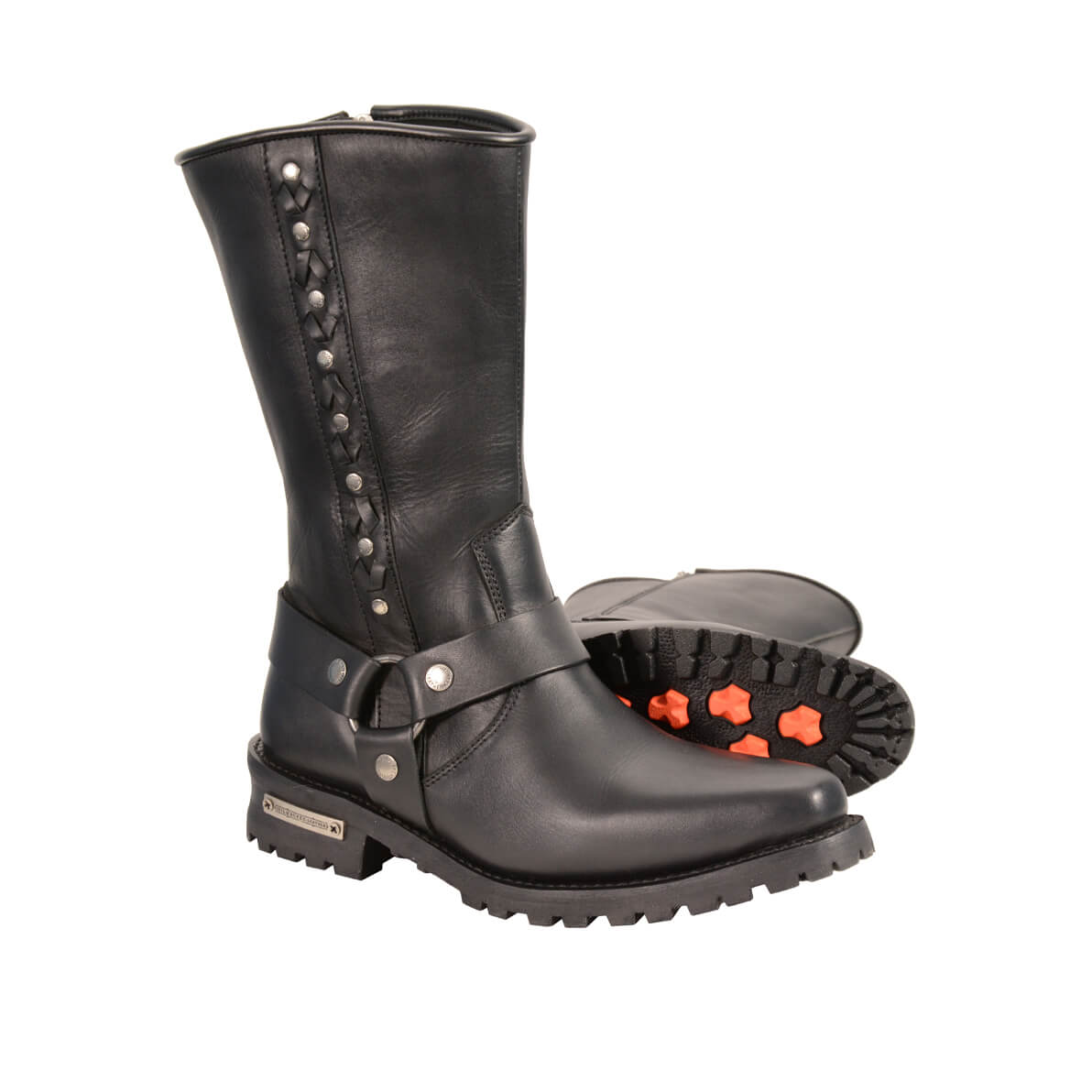cbfd6c5275c MEN S REAL LEATHER J TOE MOTORCYCLE HARNESS BOOTS W  LACING ...