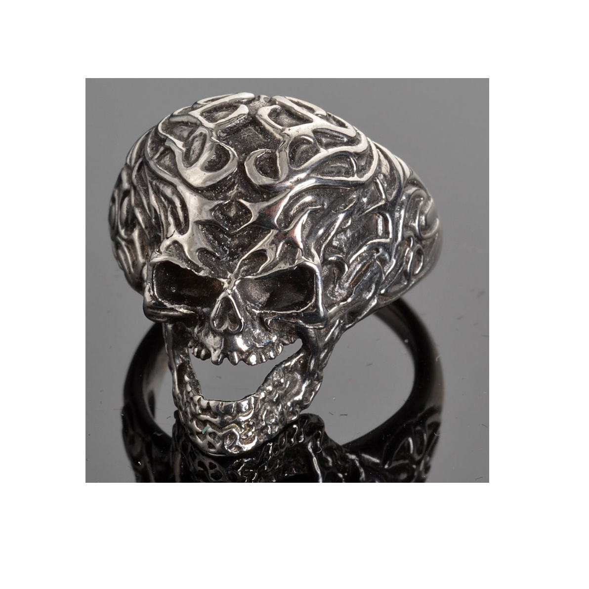 Stainless steel men 39 s tribal tattoo skull ring extreme for Stainless steel tattoo