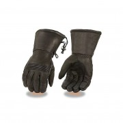 MEN/'S GENUINE LEATHER ULTRA LONG GUANTLET THERMAL LINED GLOVES WITH ZIPOFF CUFF