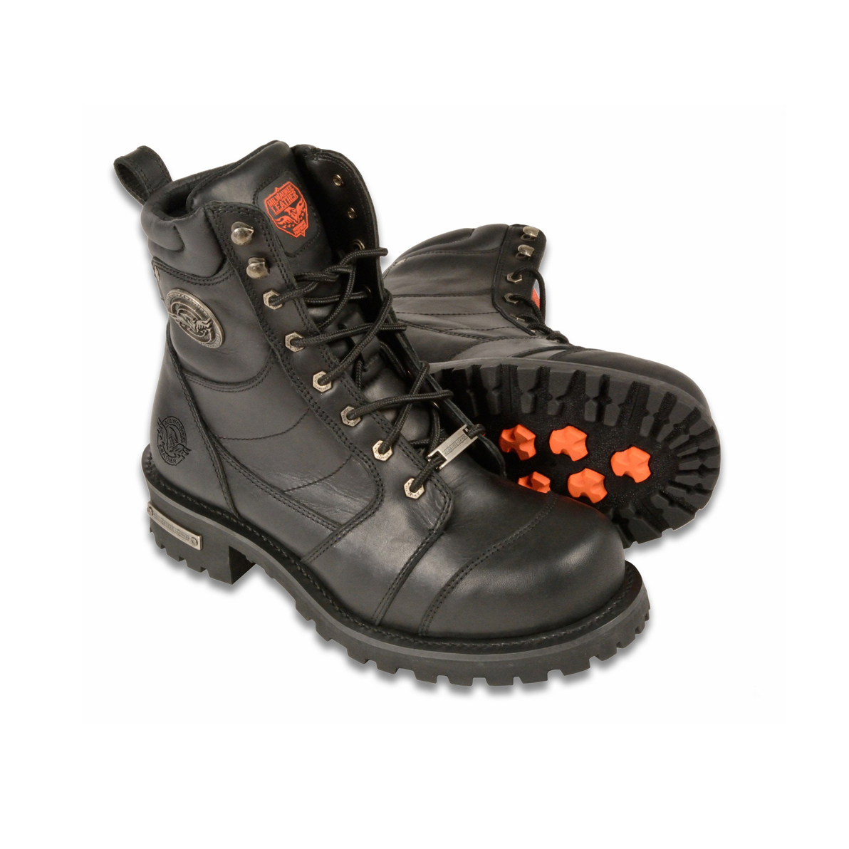 51e8c97f8a8a WIDE MEN S MOTORCYCLE BOOTS PURE LEATHER 8 INCH CLASSIC LOGGER ...