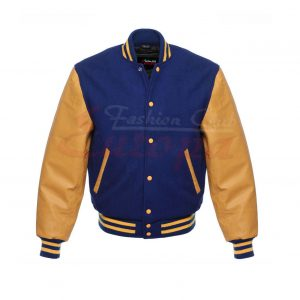 Blue and Yellow Letterman Jacket and Leather Varsity