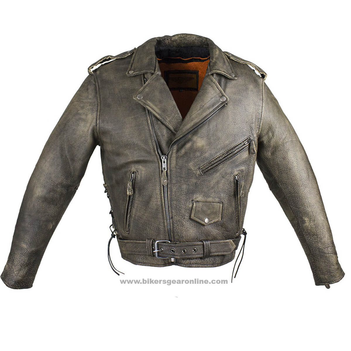 Mens Distressed Dark Brown Leather Motorcycle Jacket Extreme