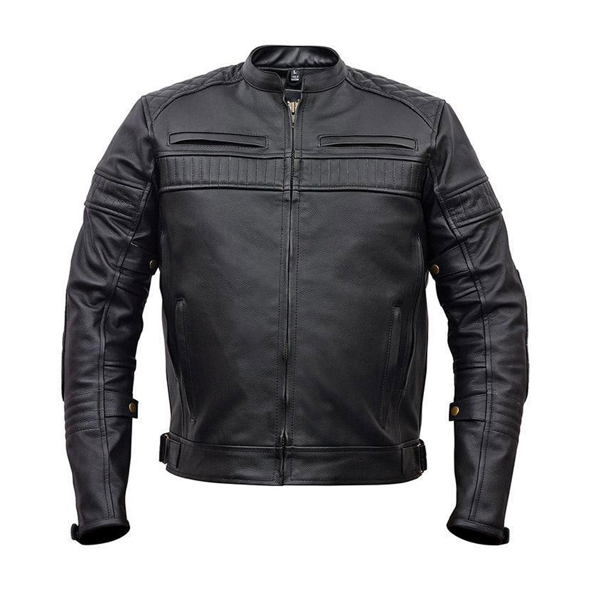 Men S Motorcycle Black Scooter Police Style Leather Jacket