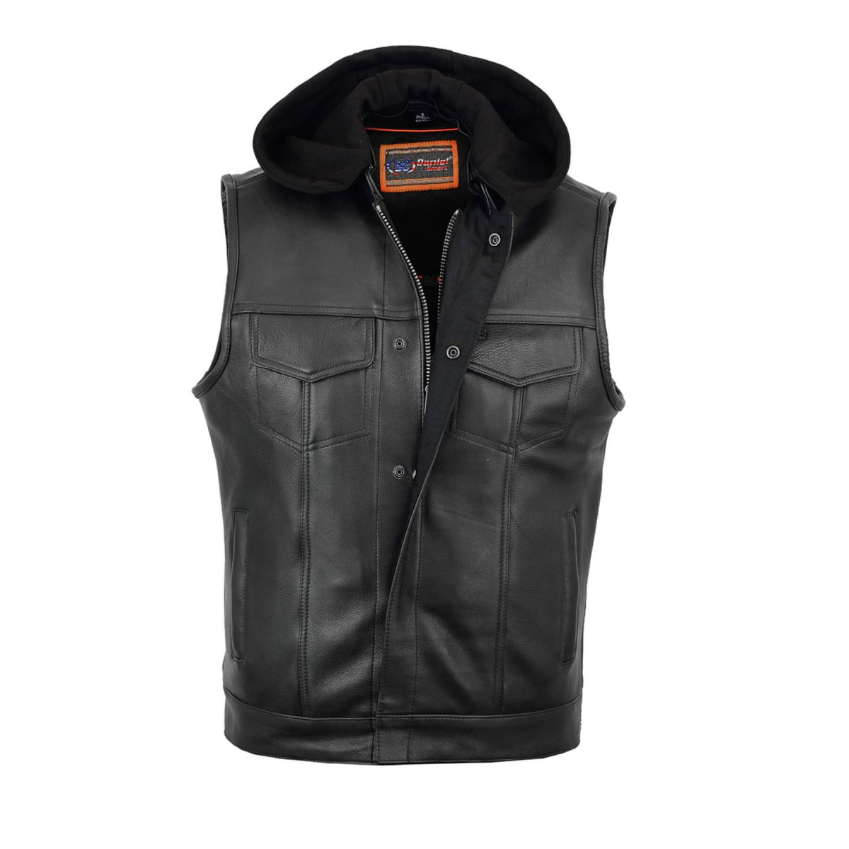 Soft Leather Men's Motorcycle Riding Side lace Snap// Zip Front Club Style Vest