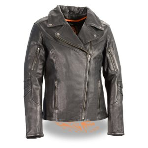 Women's Black Leather Lightweight Long Length Vented Jacket