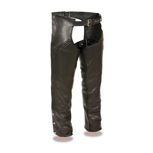 Men's Black Leather Slash Pocket Chaps with Snap Out Liner