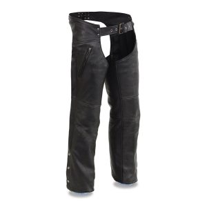 Men's 'Cool-Tec' Black Leather Chaps with Zippered Thigh Pockets