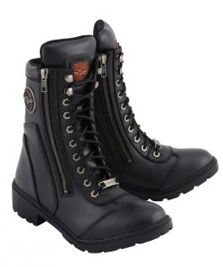 Womens Black Lace-Up Boots with Side Zipper Entry
