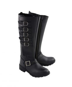 Womens Black 17 Inch Side Strap Riding Boot with Side Zipper Entry