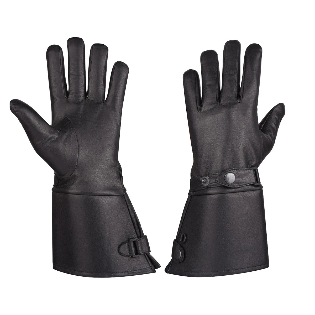 MEN'S THERMAL LINED LEATHER GAUNTLET GLOVES W SNAP WRIST & CUFF