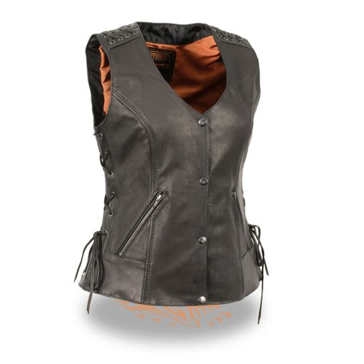 Women's Leather Black Lightweight Lace to Lace Vest
