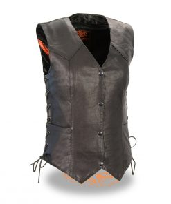 Ladies Black Lightweight Side Laced Four Snap Leather Vest