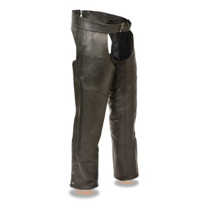 Men's Black Leather Vented Chaps with Stretch Thighs