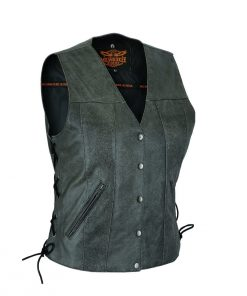 Women Vest with Side Laces Grey Leather