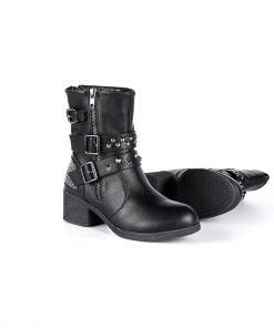 Ladies Zippered Black Multi-Studded Buckle Boots By Milwaukee Riders