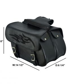 Genuine Naked Leather Concealed Carry Saddlebag with Flame