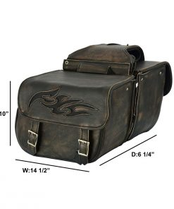 Genuine Distressed Brown Naked Leather Concealed Carry Saddlebag with Flame