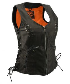 Women's Black Leather Vest with Side Laces