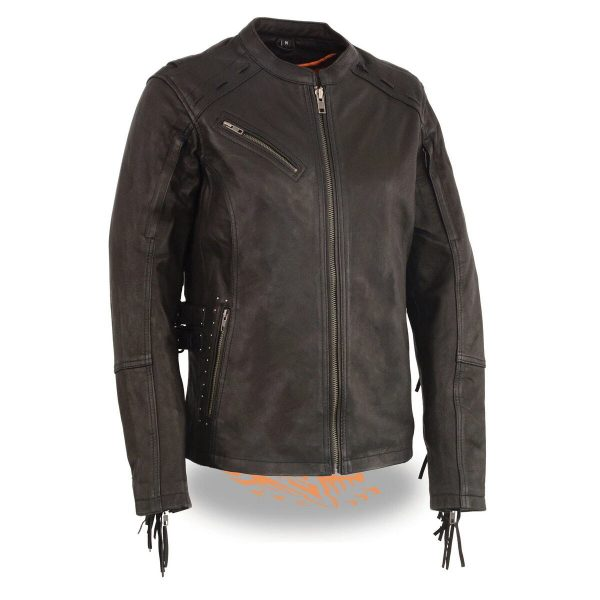 Women's Lightweight Fringed Black Leather Racer Jacket with Dual Gun Pockets