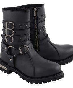 Womens 9 Inch Black Triple Buckle Leather Harness Boot with Side Zipper Entry