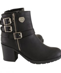 Womens Black Boots with Side Zipper and Triple Buckle Adjustment