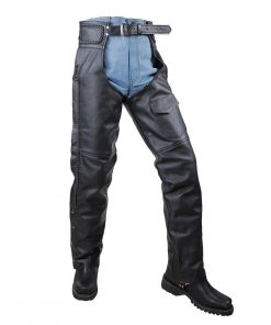 VANCE LEATHER BASIC ECONOMY LEATHER CHAPS WITH BRAID TRIM
