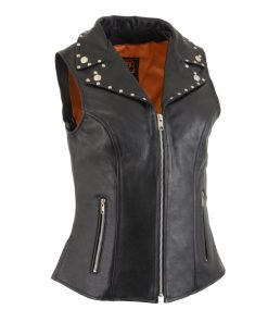 Ladies Black Leather Vest with Riveted Lapel Collar