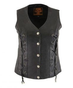 Milwaukee Leather SH1216 Ladies Black Leather Vest with Front Laces and Dual Gun Pockets