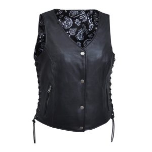Ladies Premium Leather Vest with Black Paisley Liner Inside