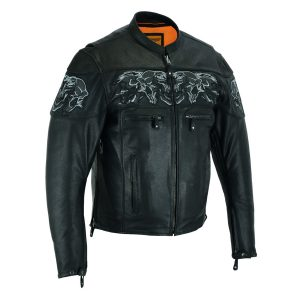 Men's Leather Concealed Carry Racing Jacket with Reflective Skulls