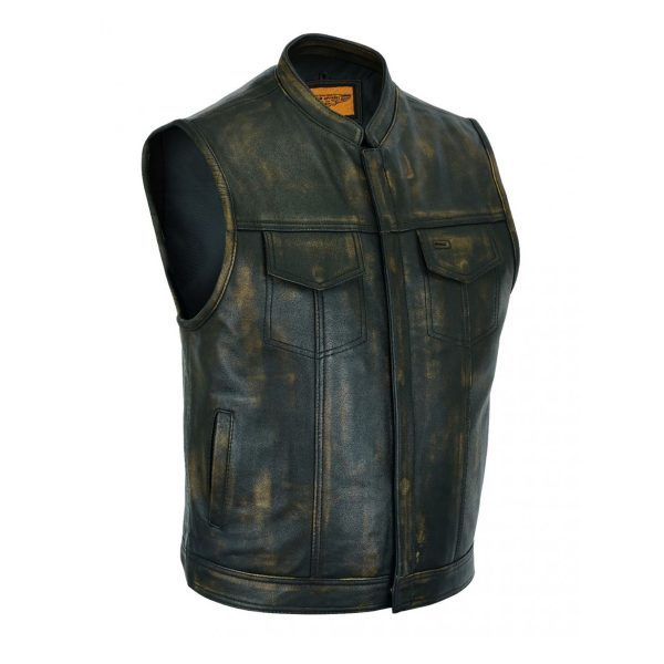 Mens SOA Style Motorcycle Club Vest Naked Distressed Brown Leather
