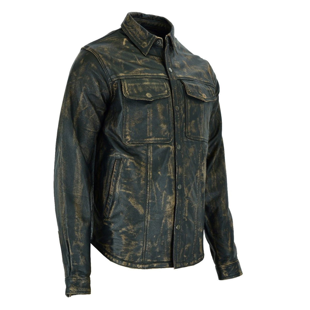 Men's Genuine Leather Shirt Naked Brown