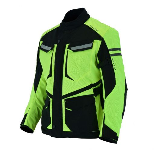 Milwaukee Riders Mens Motorcycle jacket Hi Vis Neon Flourecent Color, Armored Protective Round Neck