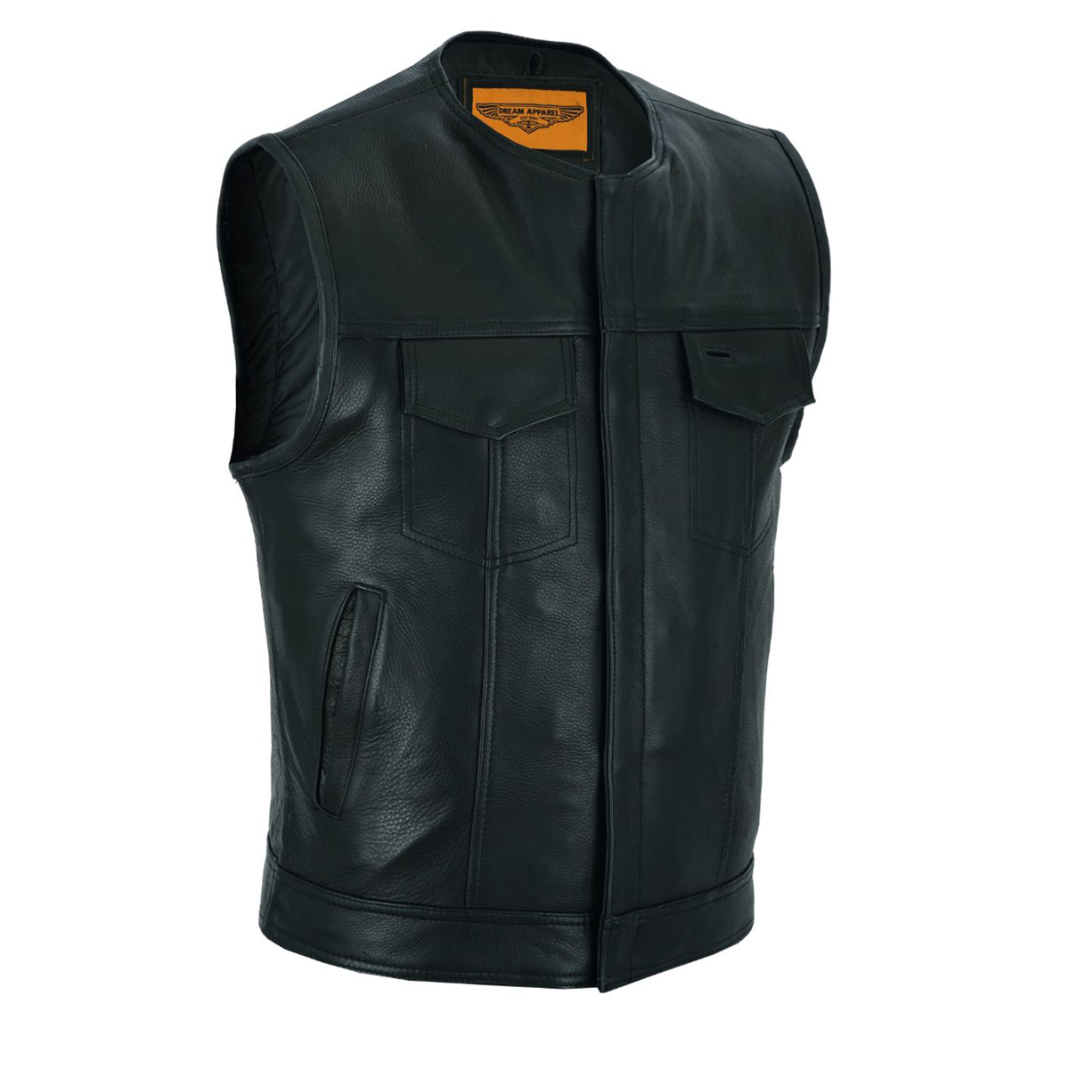 Dream Apparel Mens Motorcycle Collarless CLUB VEST with Black Liner & Zipper Front Closure