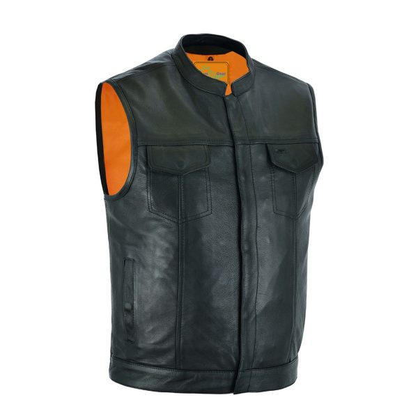 CLUB VEST® Gun Pockets, Front Zipper,Concealed Snaps,Premium Naked Cowhide Leather